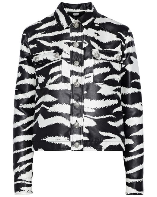 Versus  - Black Coated Zebra-print Satin-twill Jacket - Lyst