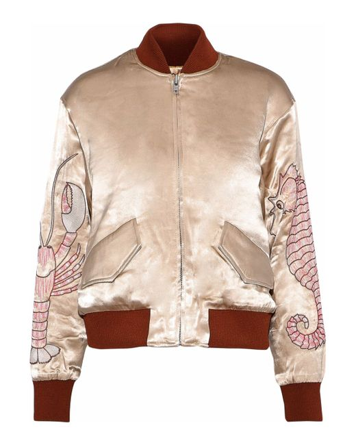 Ganni - Multicolor Leclair Embroidered Satin Bomber Jacket - Lyst