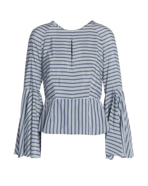 MILLY - Blue Cutout Striped Silk And Cotton-blend Blouse - Lyst