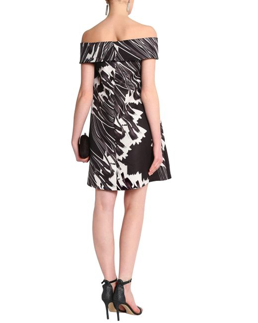 Inexpensive Sale Extremely Halston Heritage Woman Off-the-shoulder Printed Twill Mini Dress Dark Brown Size 4 Halston Heritage Free Shipping Extremely MfpfET