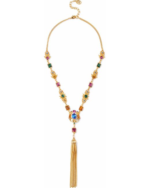 Ben-Amun - Metallic Woman Gold-tone, Crystal And Tassel Necklace Gold - Lyst