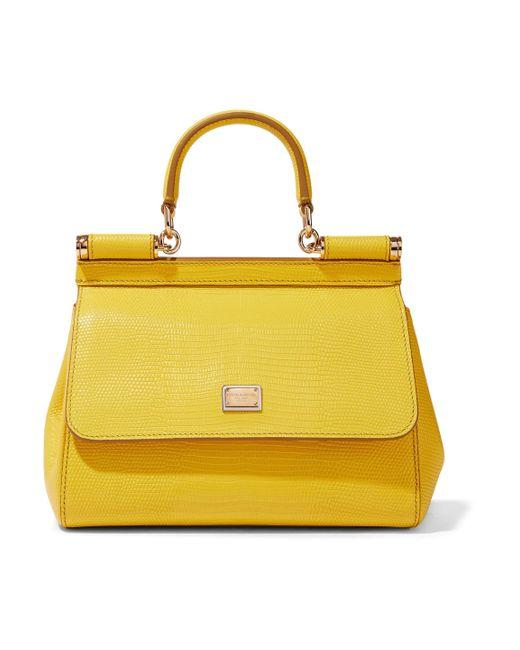 06f9108650a5 Dolce   Gabbana - Woman Sicily Lizard-effect Leather Shoulder Bag Yellow -  Lyst ...