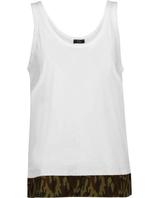 CLU | White Printed Cotton Poplin-paneled Cotton-jersey Top | Lyst