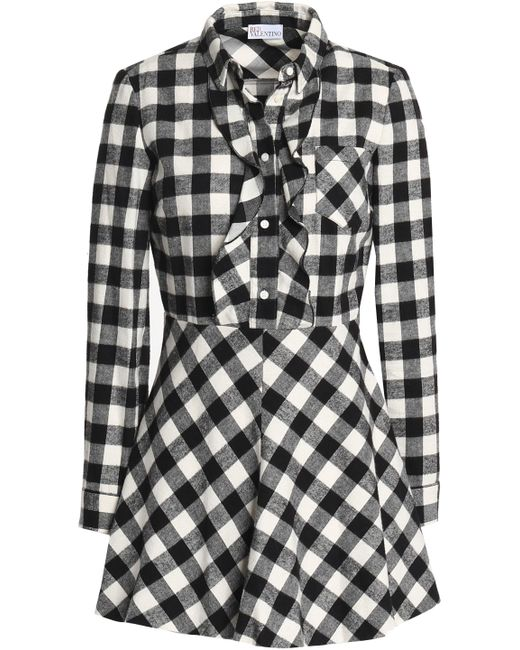 RED Valentino - White Ruffle-trimmed Gingham Cotton-flannel Mini Dress - Lyst