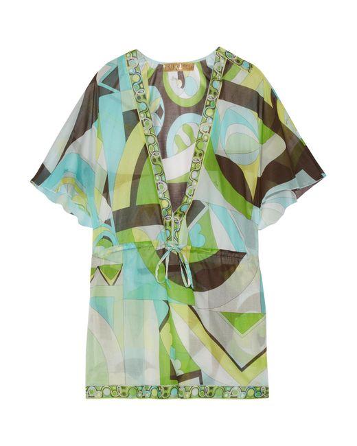Emilio Pucci | Green Printed Cotton-gauze Kaftan | Lyst