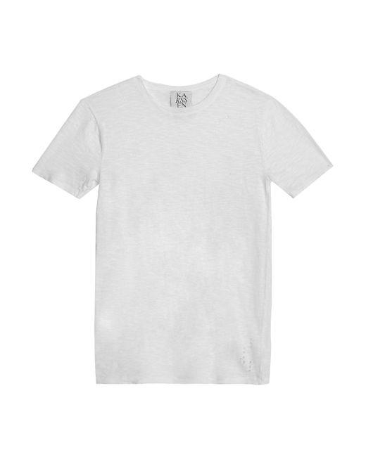 Zoe Karssen - White Distressed Slub Cotton-jersey T-shirt - Lyst