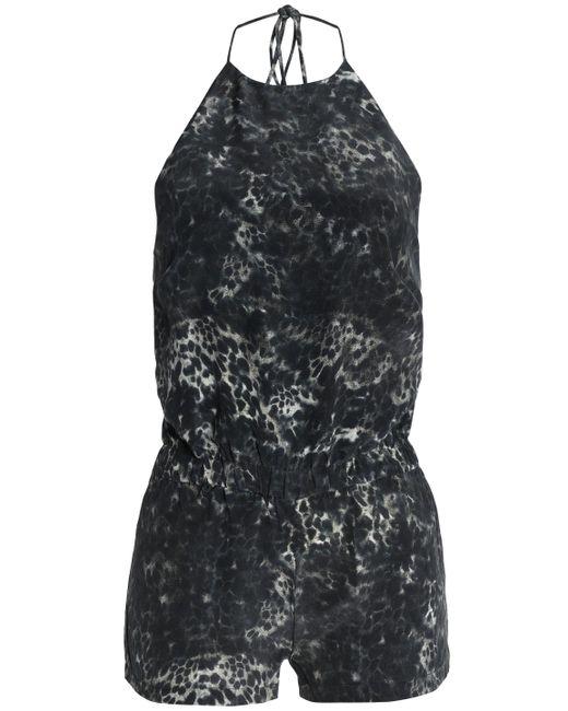 Mikoh Swimwear - Gray Leopard-print Silk Crepe De Chine Halterneck Playsuit - Lyst