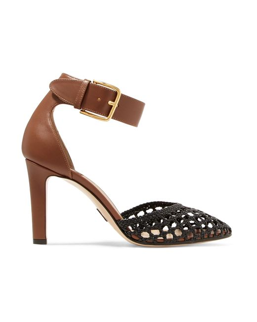 Paul Andrew | Brown Ragnar Buckled Woven Leather Pumps | Lyst