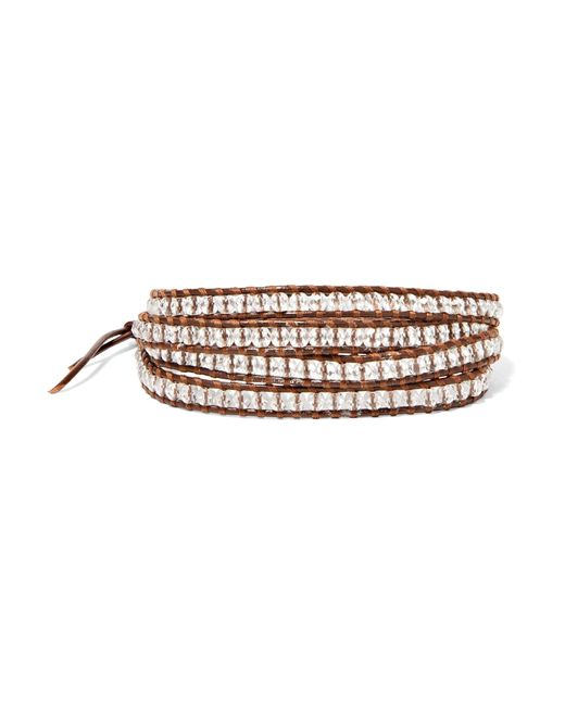 Chan Luu | Gray Silver-tone Beaded Leather And Cord Wrap Bracelet | Lyst