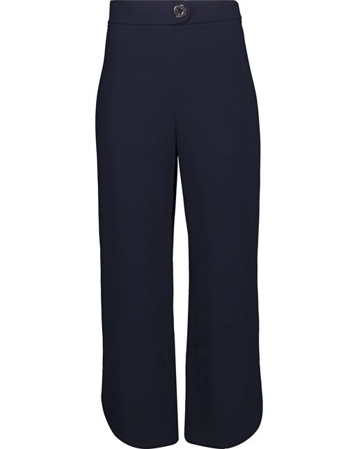 Cushnie et Ochs | Blue Cropped Eyelet-embellished Stretch-crepe Straight-leg Pants | Lyst