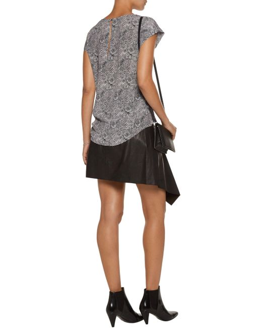 Joie | Gray Rancher Printed Washed-silk Top | Lyst