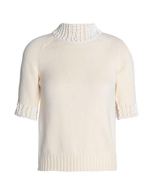 Nina Ricci - White Appliquéd Ribbed-knit Turtleneck Top - Lyst
