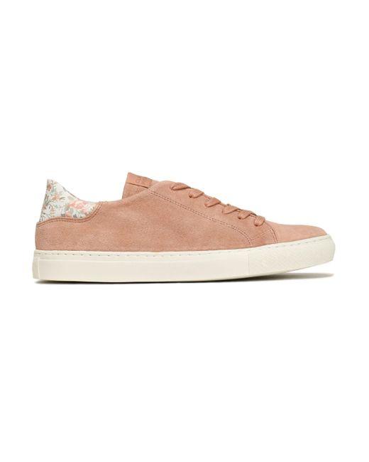 Claudie Pierlot - Pink Floral-print Leather -trimmed Suede Sneakers - Lyst