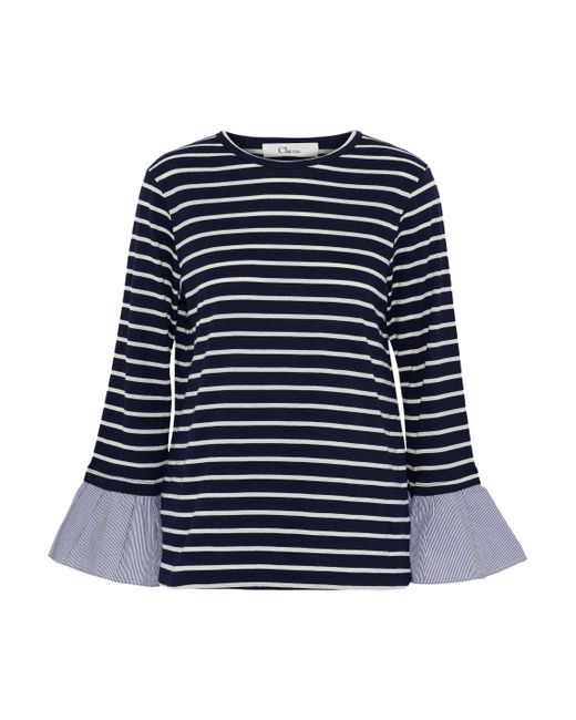 CLU - Blue Fluted Striped Cotton-blend Jersey Top - Lyst