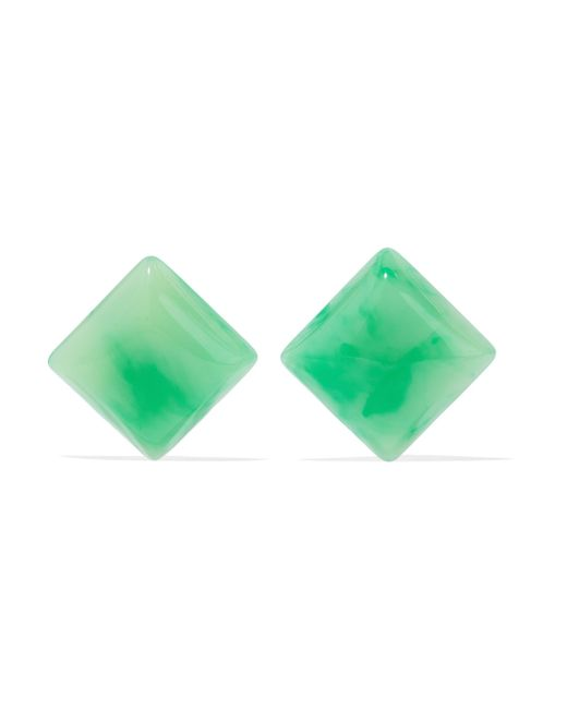 Kenneth Jay Lane - Woman Resin And Gold-tone Clip Earrings Green - Lyst
