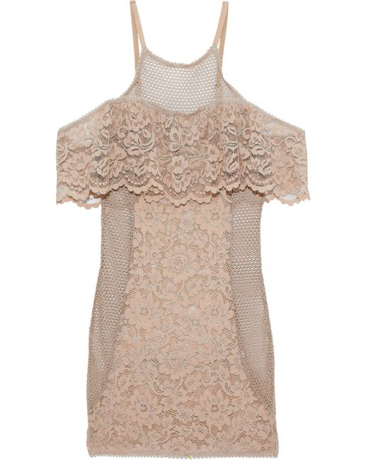 Else - Natural Petunia Cold-shoulder Crochet-paneled Corded Lace Chemise Neutral - Lyst