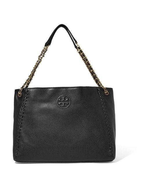 Tory Burch   Black Marion Textured-leather Shoulder Bag   Lyst