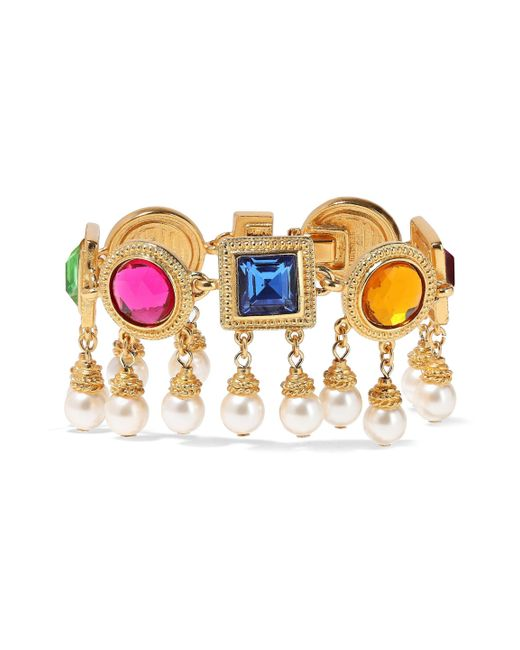 Ben-Amun - Metallic Woman 24-karat Gold-plated, Crystal And Faux Pearl Bracelet Multicolor Size -- - Lyst