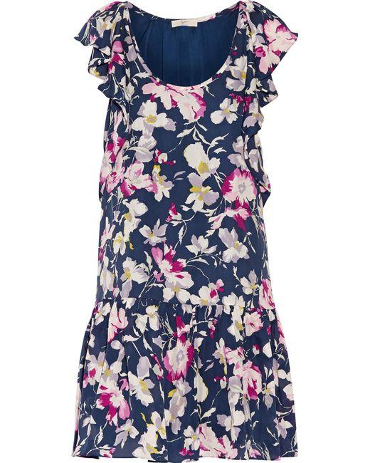 Joie | Blue Larose Printed Silk-chiffon Mini Dress | Lyst