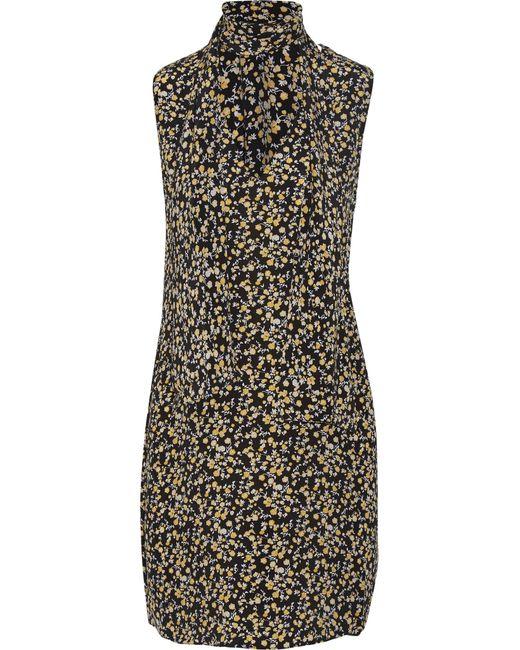 Equipment | Black Phaedra Floral-print Washed-silk Mini Dress | Lyst