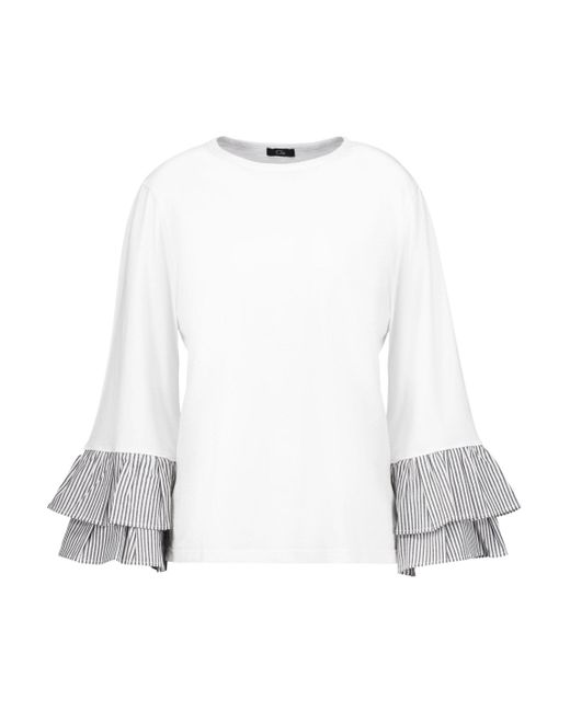 CLU - White Pleated Striped Cotton Poplin-trimmed Cotton-jersey Top - Lyst