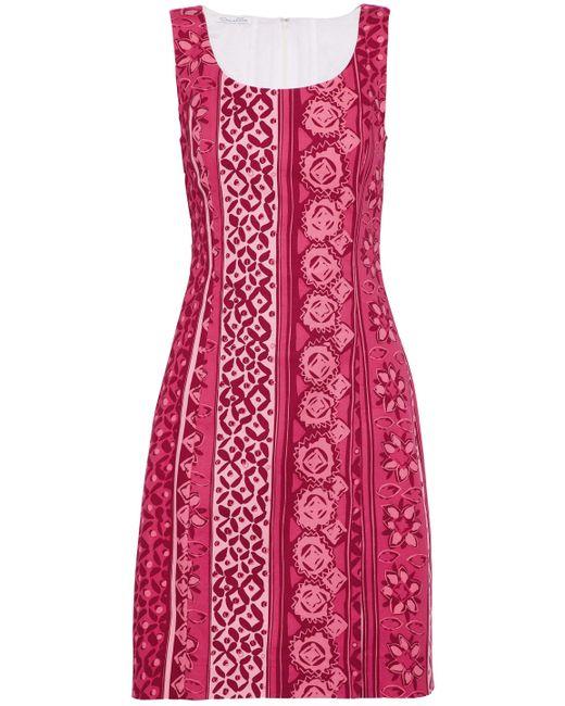 Oscar de la Renta - Red Printed Stretch-cotton Dress - Lyst