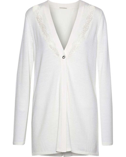 Elie Tahari - White Amber Lace And Crepe-paneled Merino Wool Cardigan - Lyst