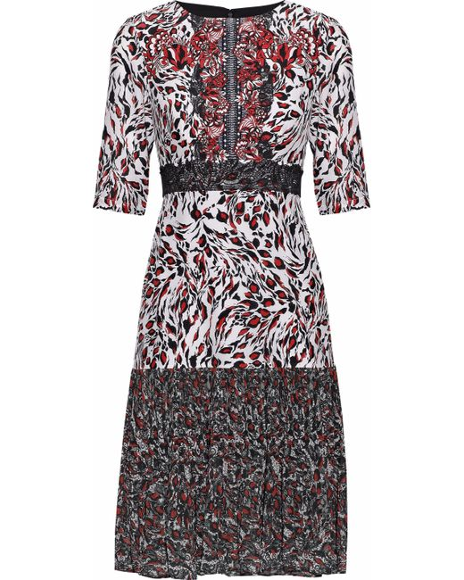 Saloni - Red Vera Printed Silk Crepe De Chine And Pleated Chiffon Dress - Lyst