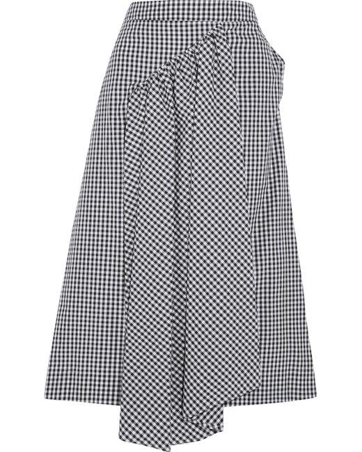 Simone Rocha - Black Asymmetric Gathered Gingham Cotton Midi Skirt - Lyst
