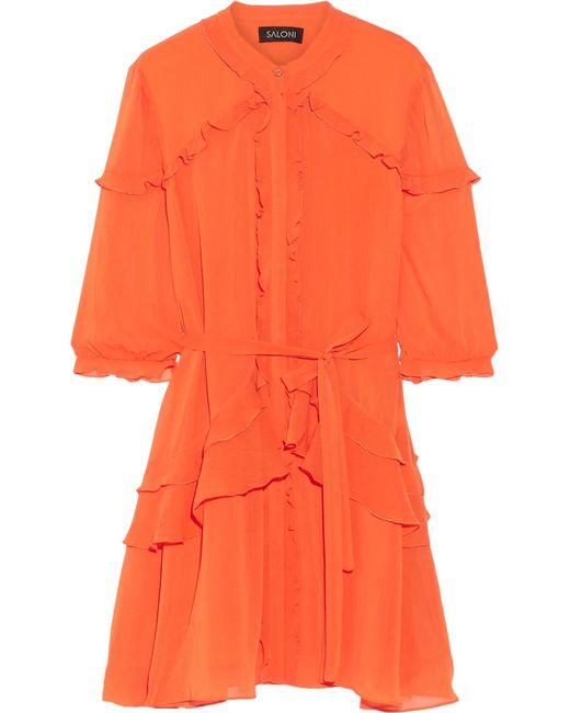 Saloni | Blue Tilly Ruffled Georgette Mini Dress | Lyst