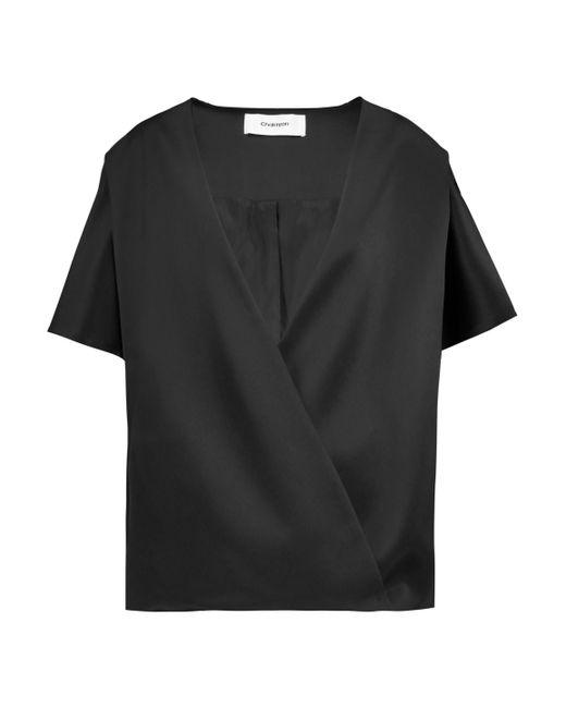 Chalayan - Black Wrap-effect Satin Jacket - Lyst