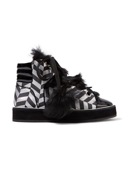 Nicholas Kirkwood | Polly Neige Shearling-trimmed Metallic Canvas High-top Sneakers | Lyst