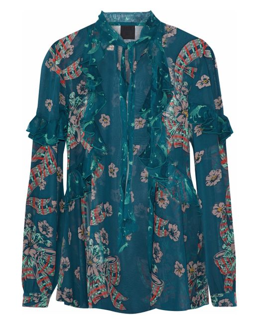 Anna Sui - Blue Ruffle-trimmed Floral-print Silk-chiffon Blouse - Lyst