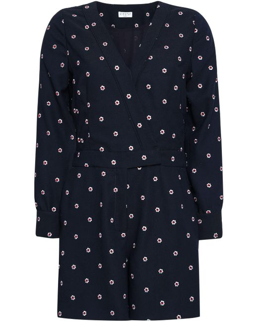 Claudie Pierlot - Blue Woman Jericho Embroidered Cady Playsuit Navy - Lyst