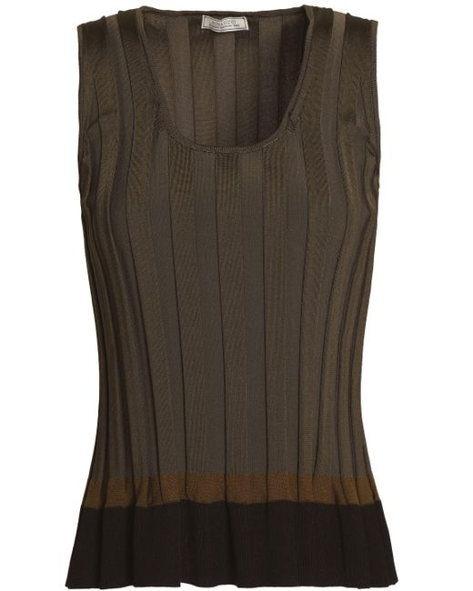 Nina Ricci - Color-block Pleated Ponte Top Army Green - Lyst