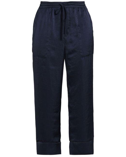 Joie - Blue Satin Straight-leg Pants - Lyst