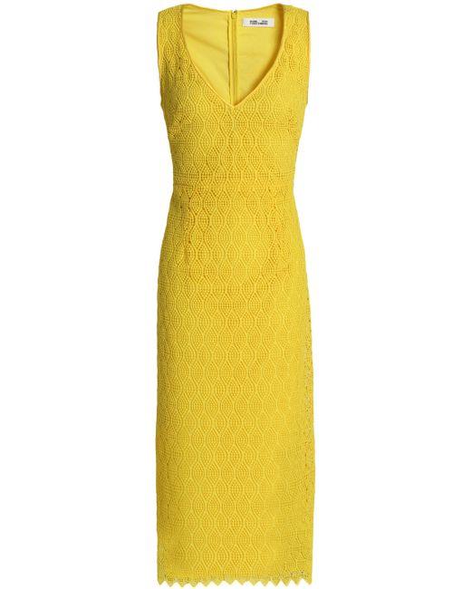 Diane von Furstenberg - Yellow Guipure Lace Midi Dress - Lyst