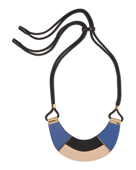Marni | Blue Cord, Leather And Horn Necklace | Lyst