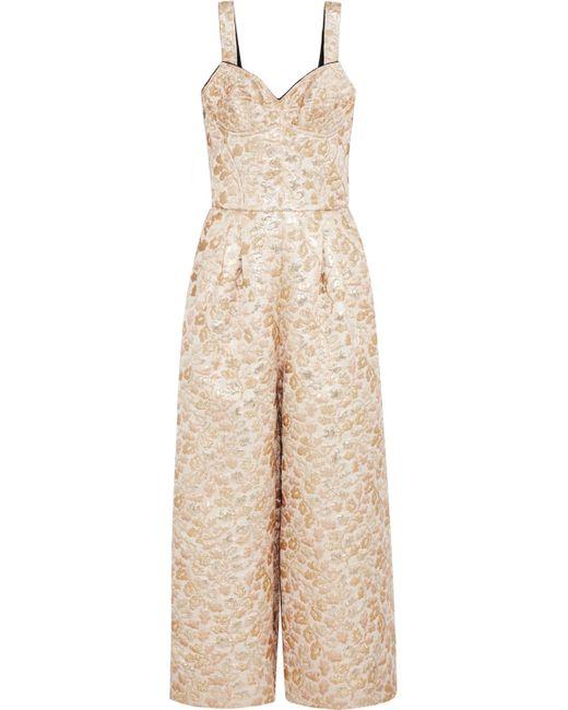 Dolce & Gabbana | Metallic Embroidered Faille Jumpsuit | Lyst