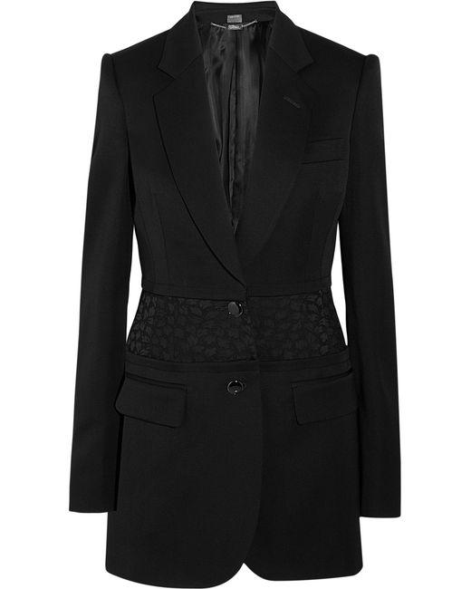 Alexander McQueen | Black Jacquard-paneled Wool Blazer | Lyst
