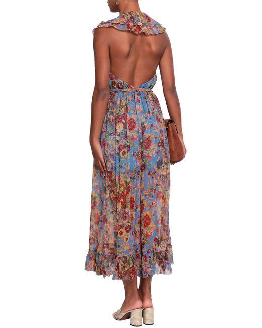 77b61a1a6b ... Zimmermann - Woman Belted Ruffled Printed Silk-georgette Halterneck  Jumpsuit Blue - Lyst ...