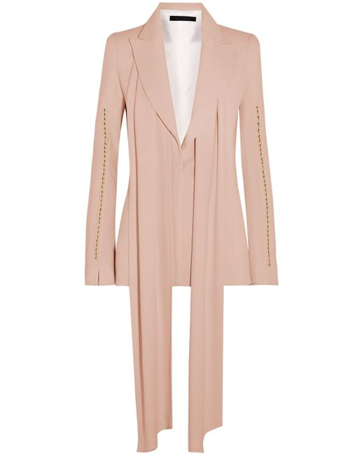 Elie Saab - Pink Pussy-bow Bead-trimmed Crepe Blazer - Lyst
