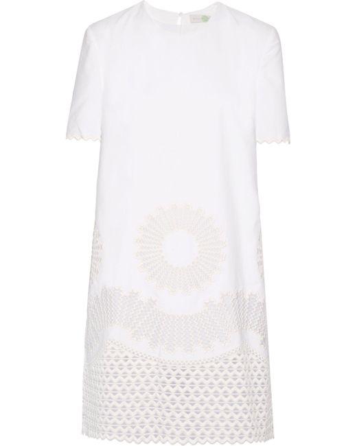 Stella McCartney | White Laycie Embroidered Organza And Cotton-piqué Mini Dress | Lyst
