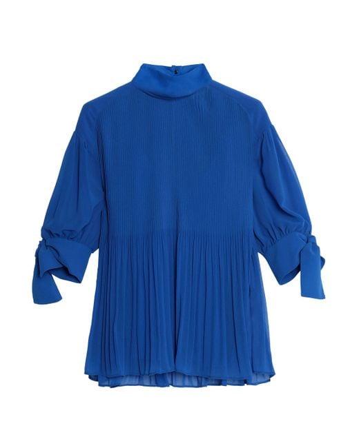 By Malene Birger - Blue Knotted Plissé-georgette Blouse - Lyst