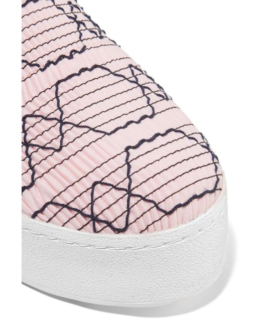 336a88012048 ... Opening Ceremony - Woman Cici Shirred Embroidered Canvas Slip-on  Platform Sneakers Pastel Pink -