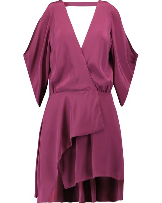 Michelle Mason - Purple Cold-shoulder Silk Mini Dress - Lyst