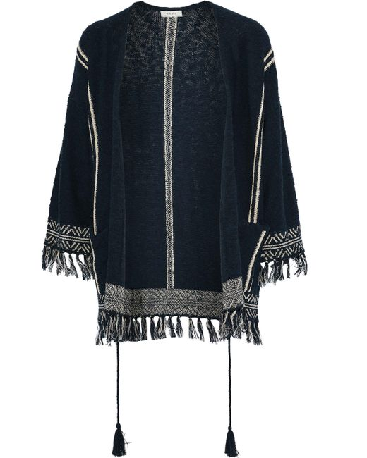 Soft Joie - Blue Woman Ayana Fringe-trimmed Cotton-blend Jacket Navy Size Xxs - Lyst