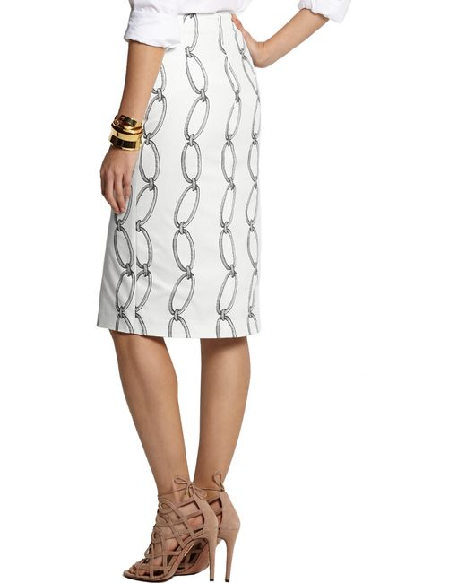 altuzarra printed stretch cotton pencil skirt in white lyst