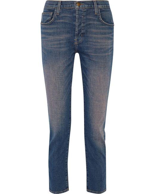 Current/Elliott - Blue The Slouchy Cropped Mid-rise Slim-leg Jeans Mid Denim - Lyst