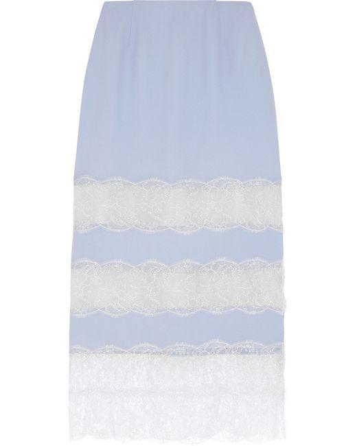 Wes Gordon | Blue Lace-paneled Crepe Midi Skirt | Lyst